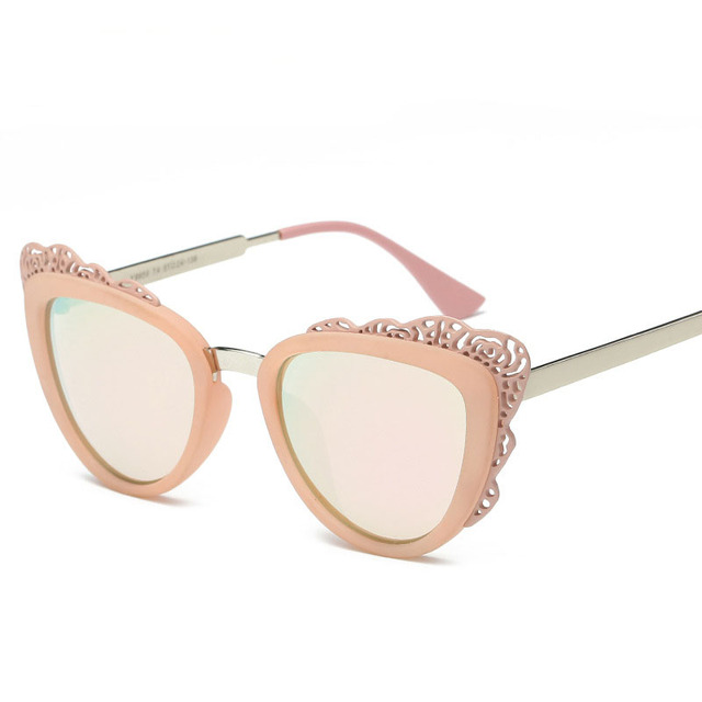 New cat eye sunglasses mulheres designer lente óculos de sol gafas oculos de sol feminino flor do vintage