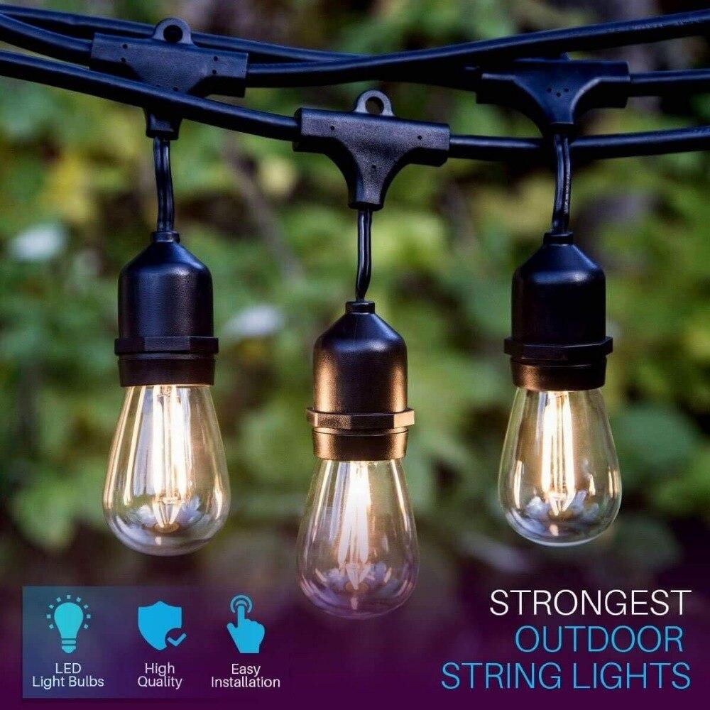 IP65 17M 24 Bulbs S14 String Lights Waterproof E27 LED Retro Edison Filament Bulb Outdoor Garden