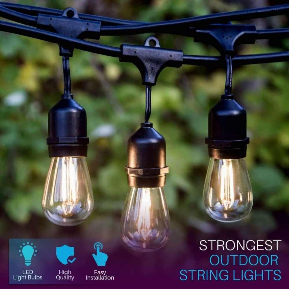 Ip65 17m 24 Bulbs S14 String Lights Waterproof E27 Led Retro Edison Filament Bulb Outdoor Garden