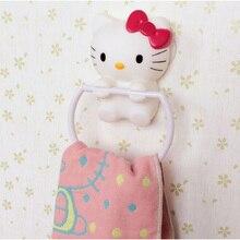 Cartoon hello kitty fuerza de succión de pared perfecta percha toalla de papel higiénico titular de papel de baño estante de accesorios de cocina c