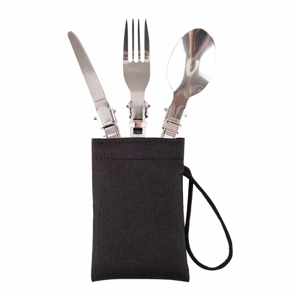 3 pcs أدوات المائدة المحمولة دائم طوي الفولاذ المقاوم للصدأ غير تآكل غير المغناطيسي في الهواء الطلق التخييم السفر نزهة مجموعة ألعاب المطبخ