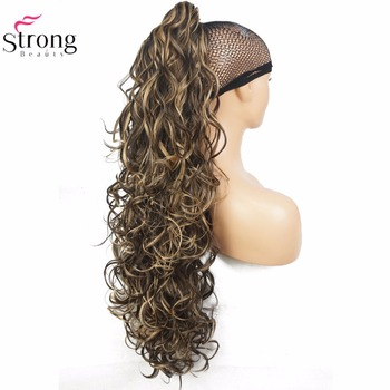 StrongBeauty Long Curly Claw Clip Ponytail Hairpiece Hair Extensions 32 inch Synthetic Heat Resistant Fiber - discount item  24% OFF Synthetic Hair