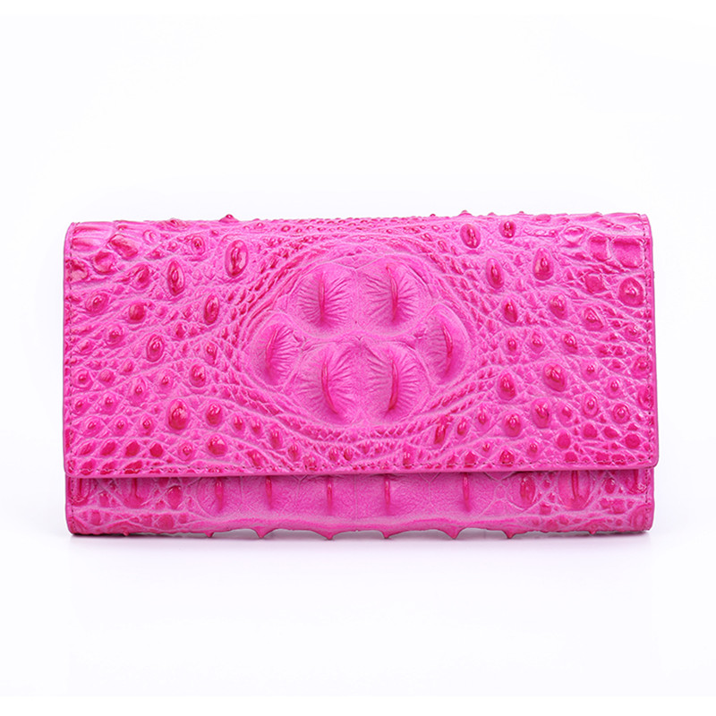 2018 Women Genuine Leather Bag Alligator Cowhide Wallet Hasp Card Money Holder Clutch Purse Long Wallets Hot Pink Coin Pocket brand handmade genuine vegetable tanned leather cowhide men wowen long wallet wallets purse card holder clutch bag coin pocket