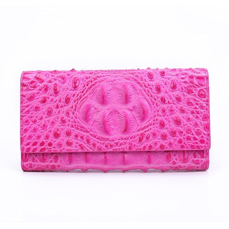 2018 Women Genuine Leather Bag Alligator Cowhide Wallet Hasp Card Money Holder Clutch Purse Loog Wallets Hot Pink Coin Pocket 2015 women s coin purse money bag case wallet keys card pouch big flower pattern hasp 6o3h
