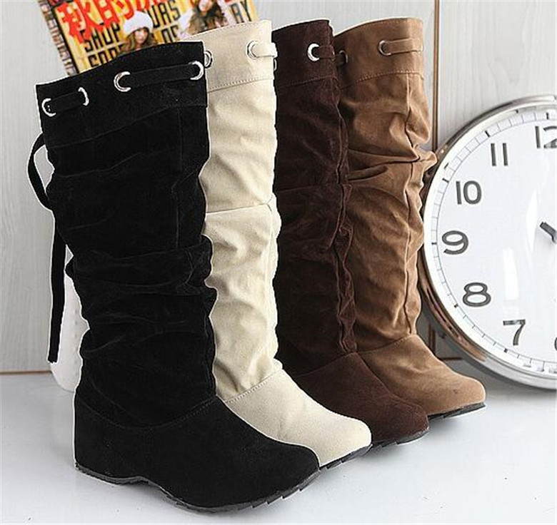 New Arrival font b Women b font Snow Boots Knee High Boots Shoes Thick Sole Heels