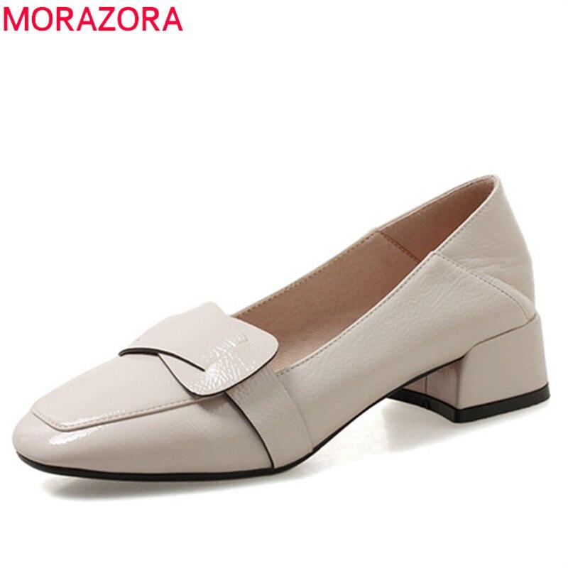 MORAZORA 2020 big size 33 43 pumps women square toe spring summer shoes shallow square heels