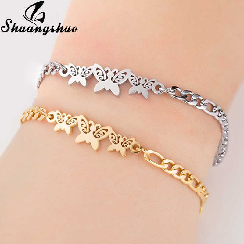 Shuangshuo Charm Butterfly Bracelet for Women Animal Stainless Steel Link Chain Girls Bracelet Jewelry pulseras mujer