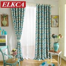 1 шт. синий полосатый отпечатано затемненные шторы для гостиной современные окна гостиной-шторы для детей шторы для детей
