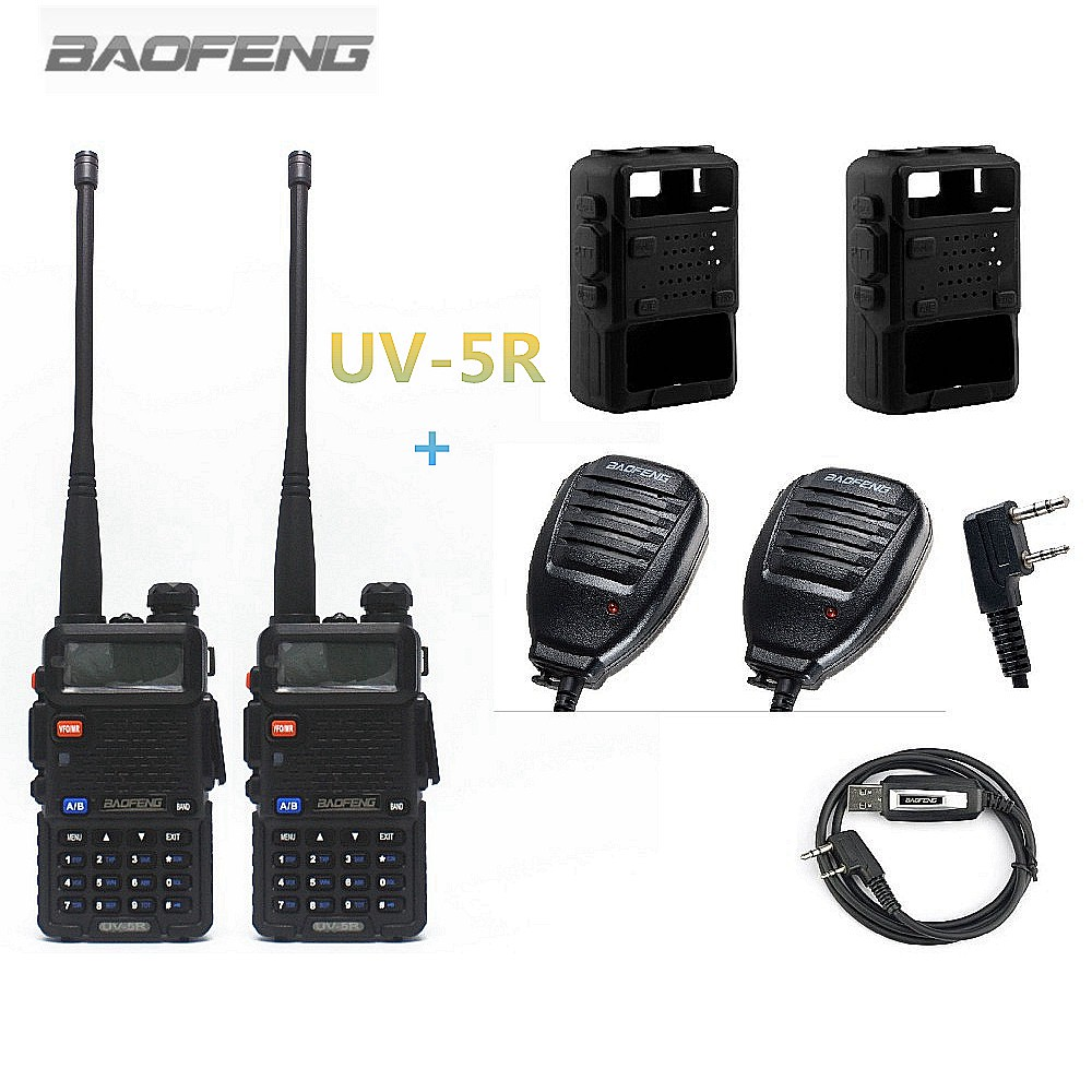2PCS BAOFENG UV-5R Walkie Talkie Two Way Radio + 2PCS BaoFeng Բարձրախոս բարձրախոս + 2PCS Silikon Case + 1PCS ծրագրավորման մալուխ