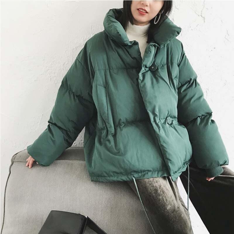 Vestes D'hiver Femmes Coton Rembourré Veste Col montant Couleur Unie Courte Oversize Femme Parkas Manteau