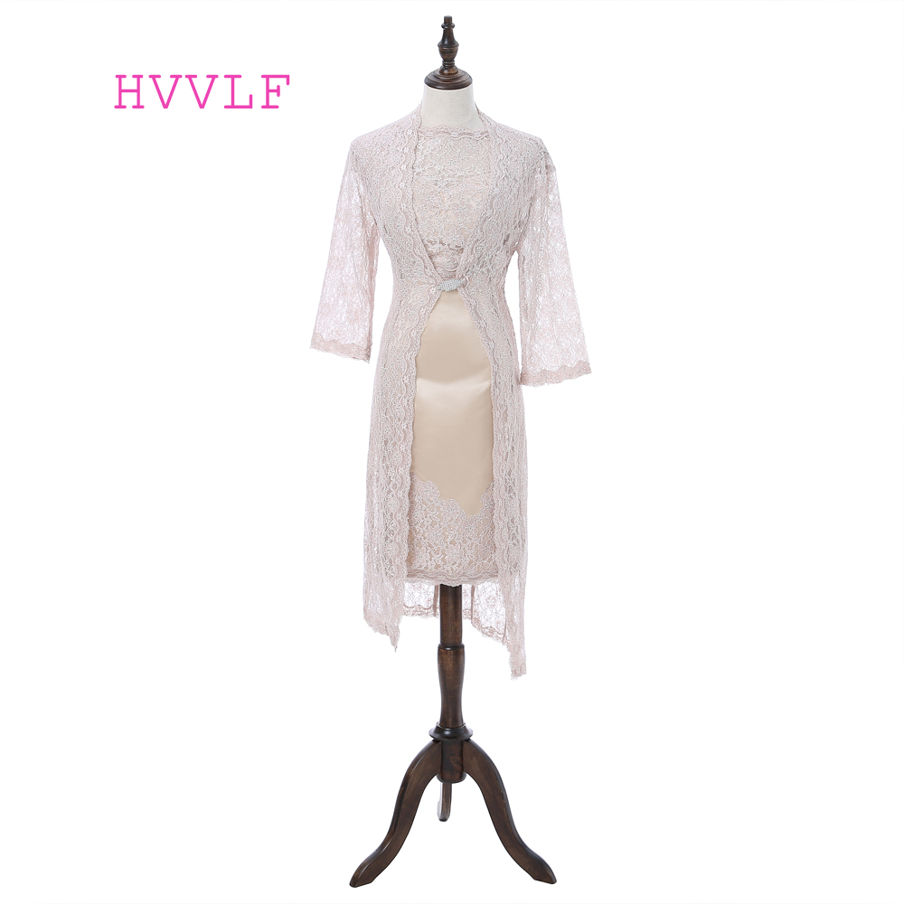 Plus Size 2019 Mother Of The Bride Dresses Sheath Knee Length With Jacket Lace Short Formal Groom Mother Dress For Wedding