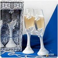 2 Bướm sâm banh cưới ly cô dâu và chú rể ly đám cưới ly rượu cốc đám cưới quà Cưới Phụ Kiện miễn phí vận chuyển