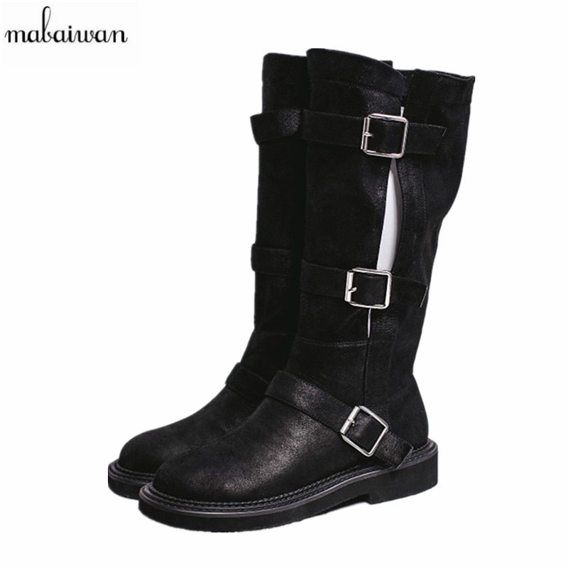 Mabaiwan 2017 Fashion Women Boots Buckle Mid Calf Square Heel Women Shoes Winter High Quality Women Flats Knight Martin Boots stylish women s mid calf boots with solid color and fringe design