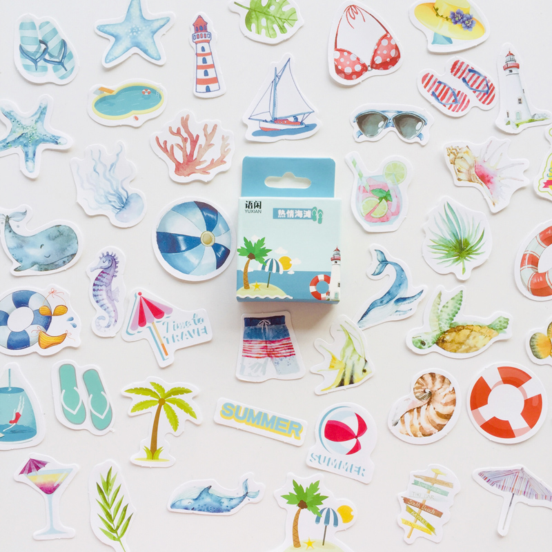 1 Box Summer Ocean Beach DIY Adhesive Stickers Decorative Scrapbooking Diary Album Stick Label