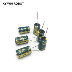 10 pces capacitor eletrolítico de alumínio 22 uf 450 v 13*20mm frekuensi tinggi kapasitor eletrolítico radial