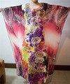 2016 Moda Mujeres de La Gasa de Kaftan Vestido de la Señora Africana Material Grandes Mangas Imprimir Vestido de África Bazin Riche Tela Pls Tamaño S2341