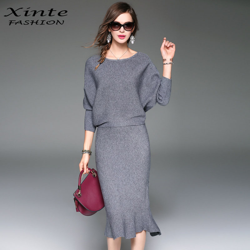 2017 Women Spring Knitted Skirt Suit Ladies Office Sweater ...