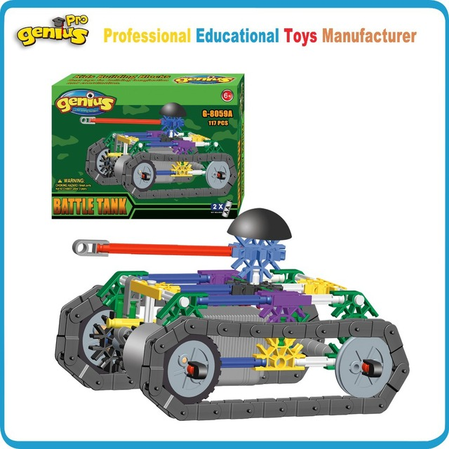 a1c4f34a510 Hot Sale Genius 117pcs Model Tank Construction Building Blocks Educational  Kids Toys Children Design Compatible Knex G-8059A