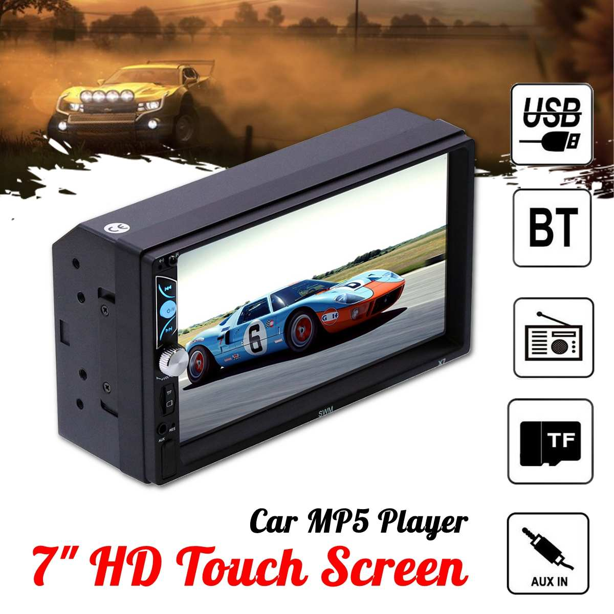 7 HD Touch Screen universal  Car MP5 Audio Video MP4 TF Card U Disk AUX bluetooth MP3 Player interconnection reversing image7 HD Touch Screen universal  Car MP5 Audio Video MP4 TF Card U Disk AUX bluetooth MP3 Player interconnection reversing image