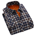 2016 Winter Mens Plaid Thermal Shirts Long Sleeve Super Warm Checkered Shirts Velvet padded