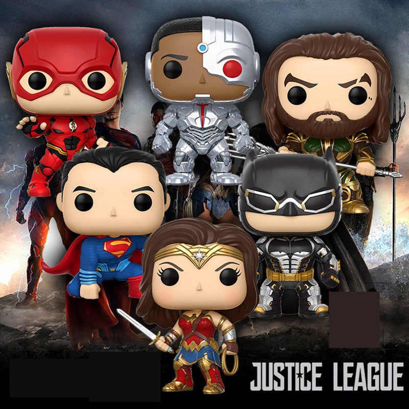 Funko POP 10 cm Aquaman Batman & Superman mulher Maravilha Da Liga Da Justiça Cyborg pvc Action Figure brinquedos para as crianças de aniversário presente