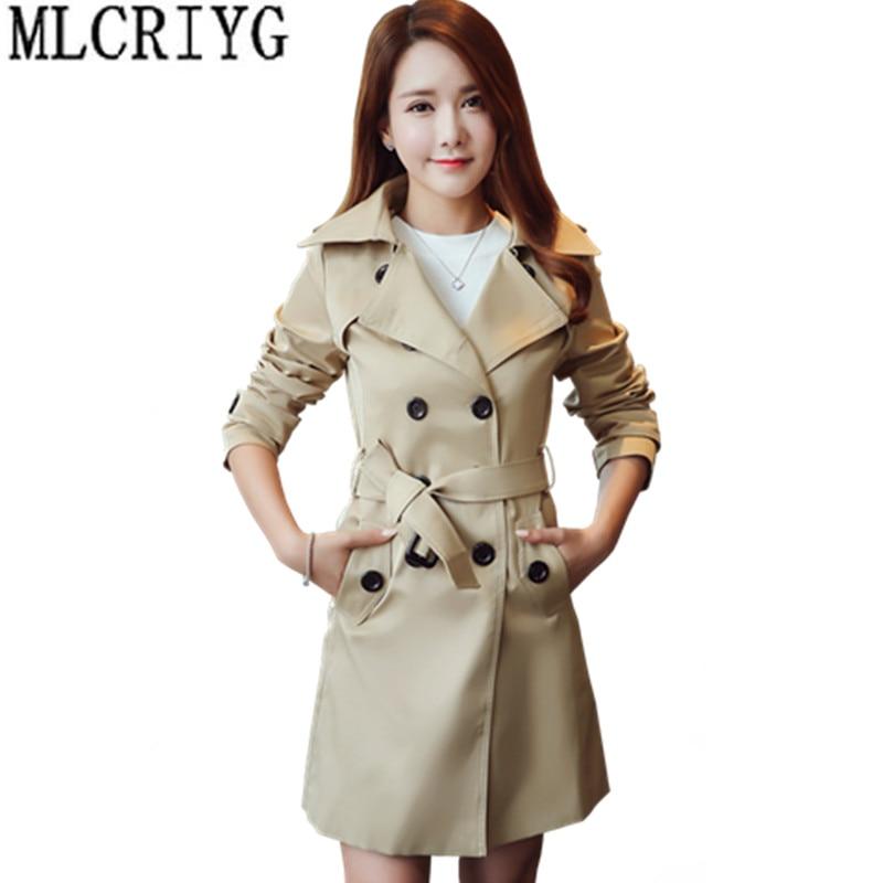 2019 Long   Trench   Coat Female Spring Autumn Slim Women's Windbreaker Overcoat Double Breasted Women Coats Plus Size 5xl 6xl YQ049