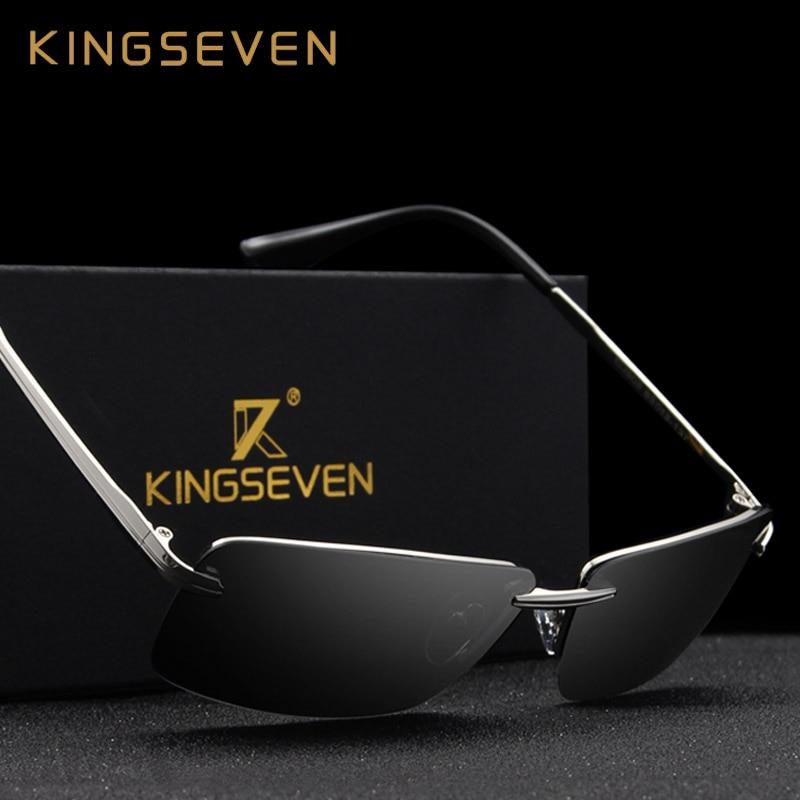 KINGSEVEN 2017 Rectangle Sunglasses Men Travel Polarized Rimless Sun glasses Male Fishing Eyewear Oculos Gafas N7905