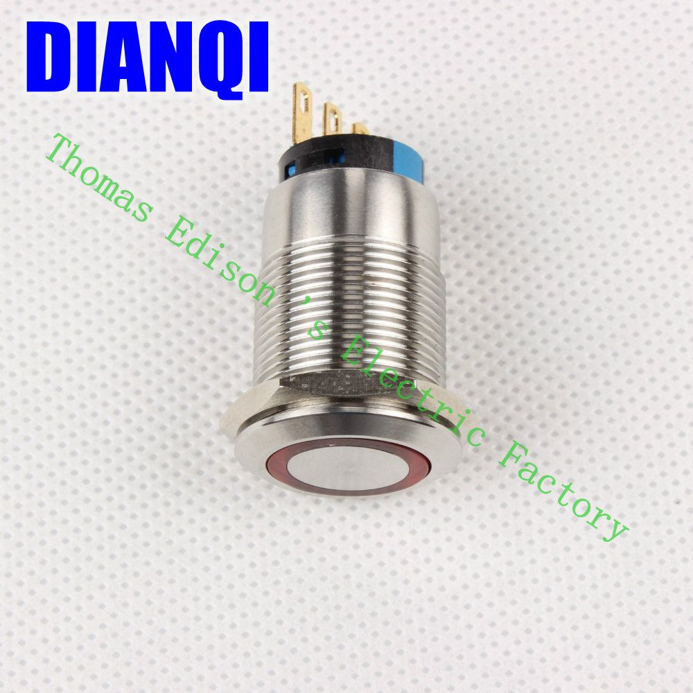 ФОТО High Quality J19-271 19MM Stylish Car Boat Metal LED Power Push Button Switch Press-Button Fastener Pushbutton Switch