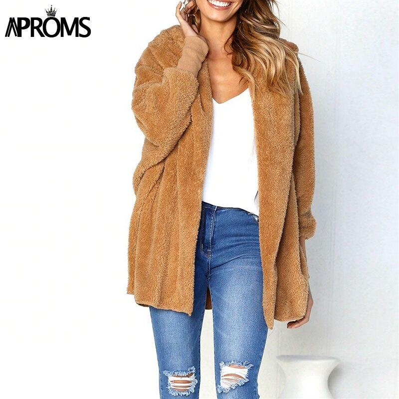 Aproms Candy Color Soft Teddy Jacket Women Autumn Loose Hooded Coats Winter Streetwear Open Style Warm Coats Outwear Female 2019