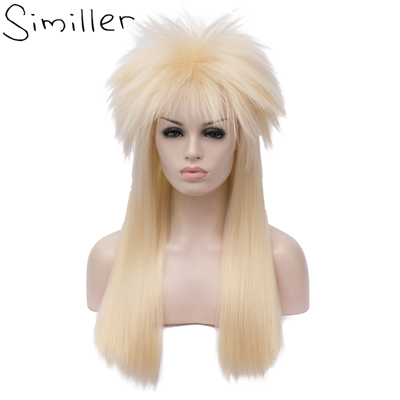 Similler Adult 70s 80s Halloween Costumes Wig Rocking Dude Punk Metal Rocker Disco Synthetic Wigs Gold Long Straight Hair