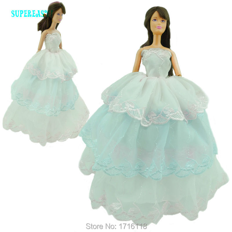 three Layers Lace Gown Wedding ceremony Celebration Bridal Robe Princess Dancing Costume Garments For Barbie Doll FR Kurhn Puppet Child Toys GIft