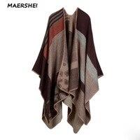 Winter ladies thick warm tartan scarf shawl dual use cashmere autumn and winter women's bib split thick cloak MAERSHEI