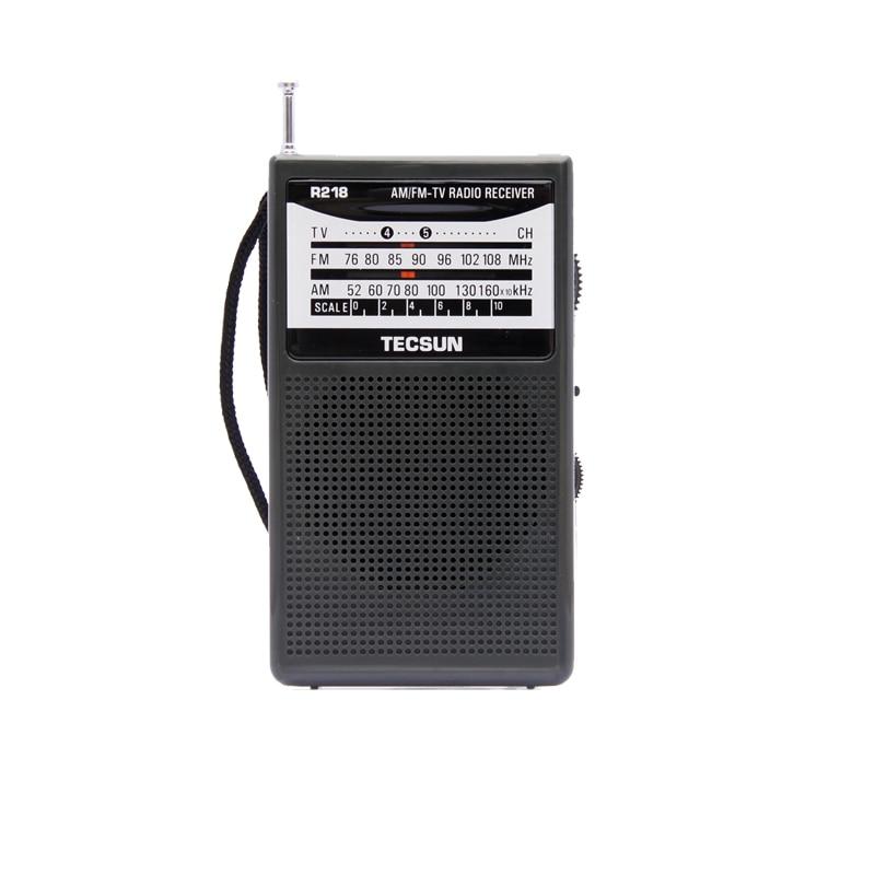 Անվճար առաքում TECSUN R-218 AM / FM / TV Ձայնային գրպանի ռադիոընդունիչ ներկառուցված բարձրախոսով