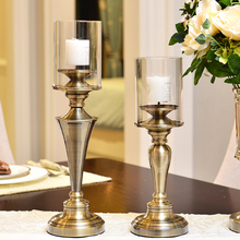 European-American model furnishings living room table ornaments romantic candlelight dinner bronze candlesticks