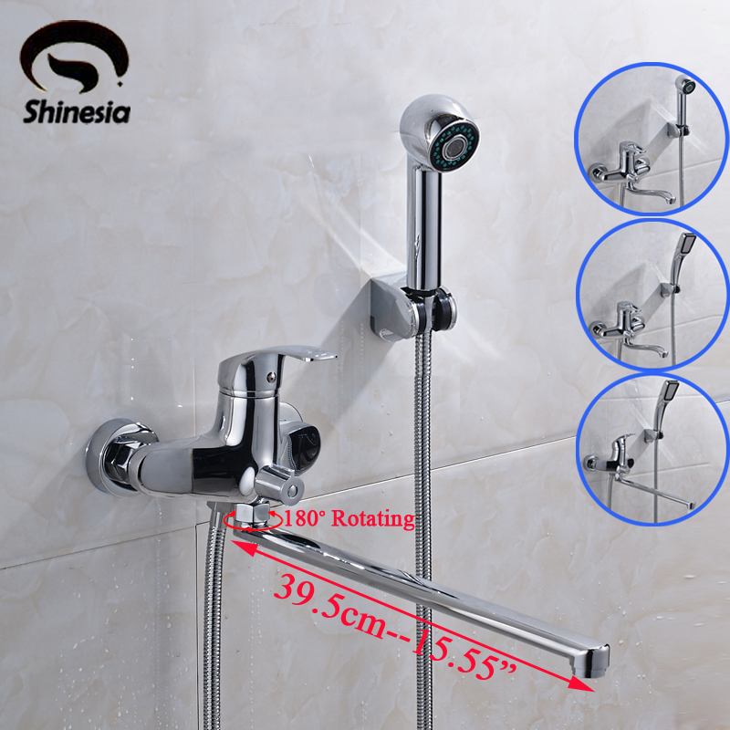 Chrome Polished Solid Brass Bathroom Tub Faucet Single Handle Swivel Spout Mixer Tap with Hand Shower chrome finished floor mounted swivel spout bathroom tub faucet single handle mixer tap