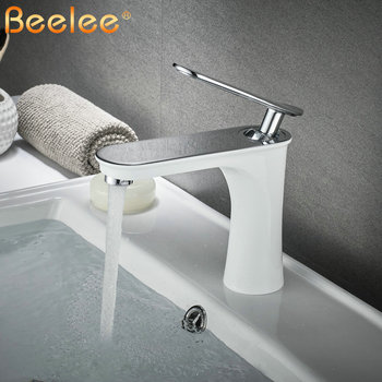 Bathroom Faucet White Single Handle Hot Cold Switch Water Mixer Taps Wash Basin Bathroom Deck Mounted Basin Faucet