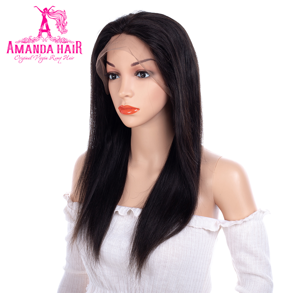 Amanda Peruvian Straight Hair 360 Lace Wigs Pre Plucked Hairline Natural Color 8-24 Inches Human Remy Hair Wigs Can Be Adjusted