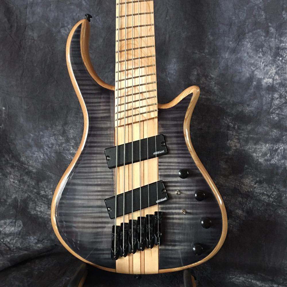 human free shipping top quality blue flame maple top ow 6 strings electric bass guitar factory. Black Bedroom Furniture Sets. Home Design Ideas