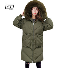 Fitaylor Hooded Faux Fur Winter Jacket Female 2017 Loose Casual Warm Thick Coat Women Long Black Cotton Parka Pedded Outwear