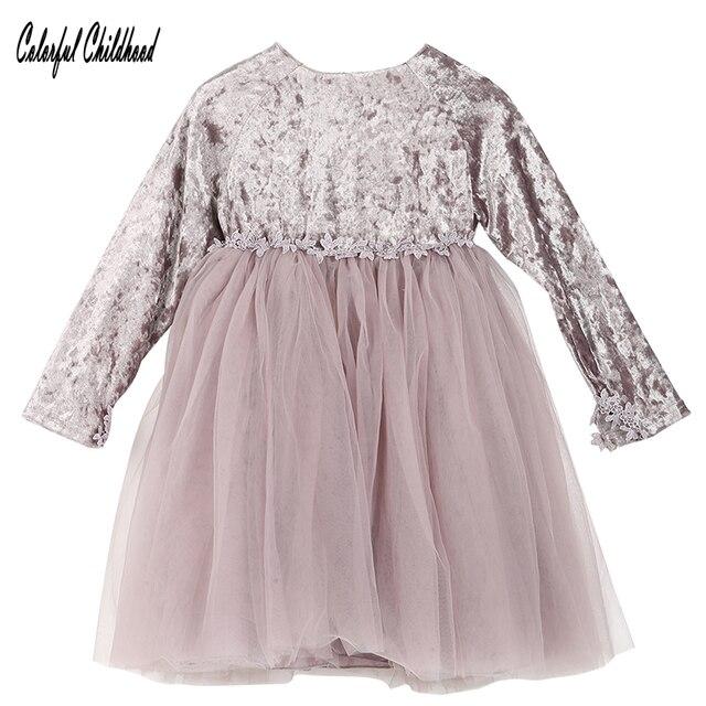 6189167689b Весна 2018 новый сладкий кружева Обувь для девочек платье лоскутное бархат  Дизайн платье принцессы для маленьких