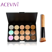 High Quality 15 Color Concealer Palette + Wooden Handle Brush Makeup Base Foundation Concealers Face Powder