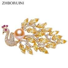 ZHBORUINI Fine Jewelry Natural Freshwater Pearl Brooch Non Fading Noble Peacock Pins Women Superior Quality