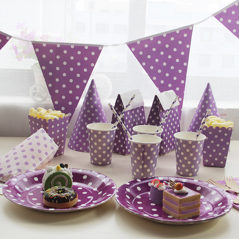 disposable tableware sets purple theme tablecloth cups paper plate napkin flag kids boy birthday. Black Bedroom Furniture Sets. Home Design Ideas