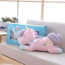 55cm Kawaii Light Colorful Unicorn Plush Toy Soft Staffed Luminous Pillow Home Furnishing Decor Valentine's Gift for girlkid