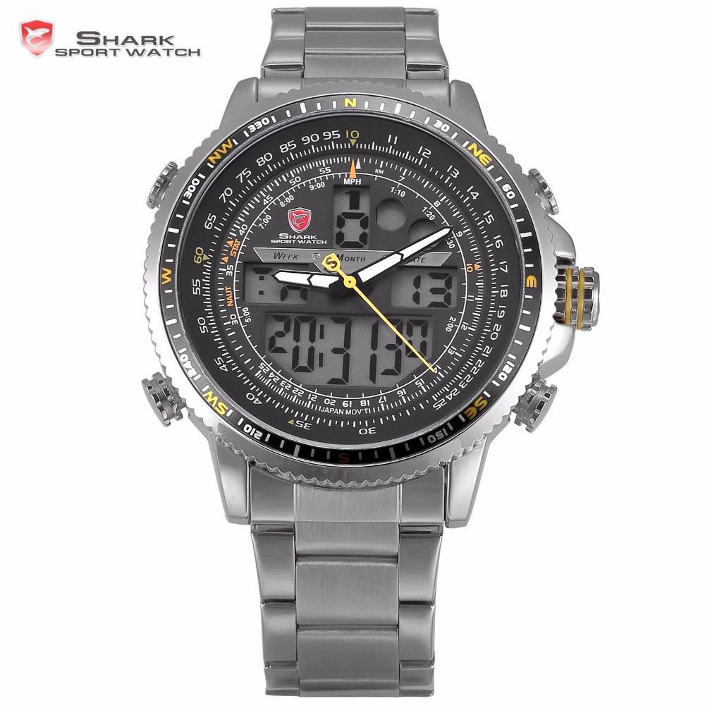 Prix pour Winghead SHARK Sport Montre LCD Jaune Bouton Digital Date Jour Alarme Chronographe En Acier Bande Quartz Hommes Montre-Bracelet Extérieure/SH327N