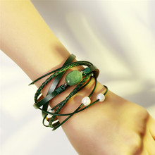 Green Natural Stone Leather Bracelet For Woman Or Men Multiple Layers Braided Imitation Pearl Bracelets Fashion Jewelry