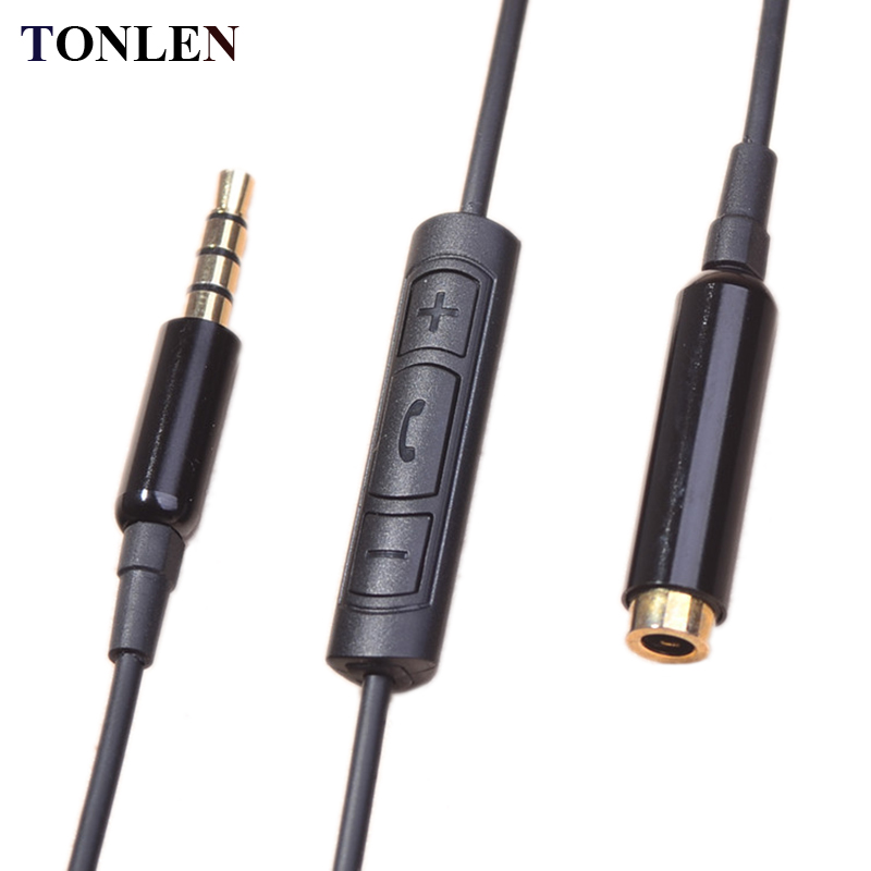 Male to male 3.5mm jack audio cable with mic and volume change ...