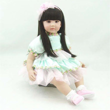 22 inch 55cm  reborn  Silicone dolls, lifelike doll reborn babies toys Pale green princess dress beautiful long hair doll