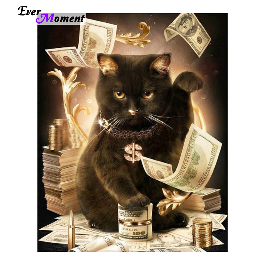 Cat With Cash Pattern Diamond Embroidery DIY Needlework Diamond Painting Cross Stitch Full Rhinestones Painting ASF411