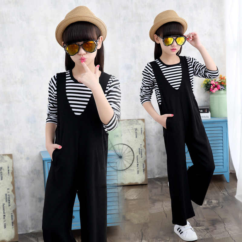 ילדי בגדי אביב סתיו בנות סרבל חליפות פעוט סלסולים ילדים ארוך וקצר שרוול פסים חולצות + שחור כתפיות